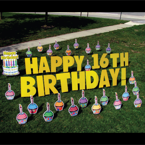 cupcakes theme  yard greetings lawn signs  happy