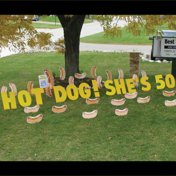 hotdogs_yard_greetings_lawn_signs_cards_happy_birthday_hoppy_over_hill