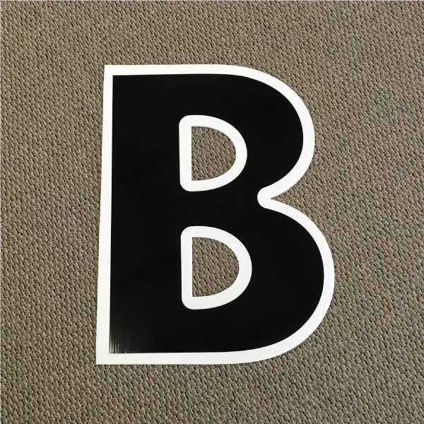 letter b black and white yard greeting card sign happy birthday over the hill plastic