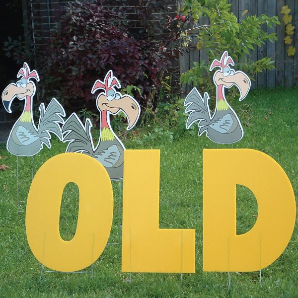 old_buzzard_2_yard_greetings_lawn_signs_cards_happy_birthday_hoppy_over_hill