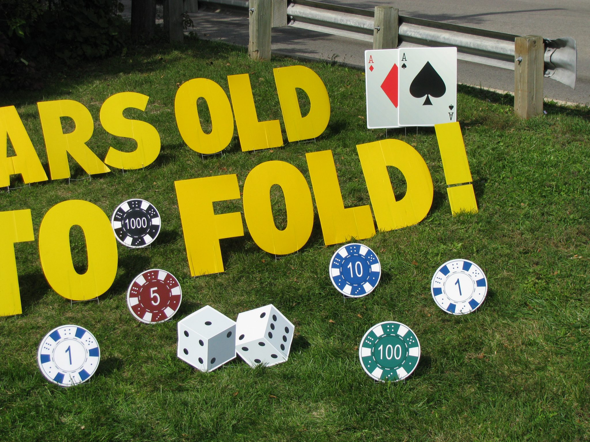 Yard Greetings Cards Lawn Signs Happy Birthday over the hill casino cards chips