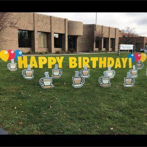 Coffee Cup Yard Greetings Lawn Signs Cards Happy Birthday Hoppy Over Hill