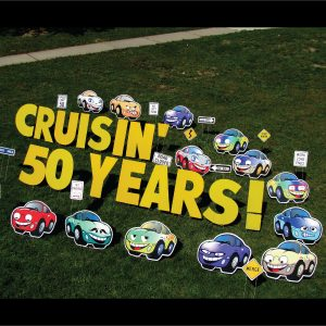 cars_cruisin_years_yard_greetings_lawn_signs_cards_happy_birthday_hoppy_over_hill
