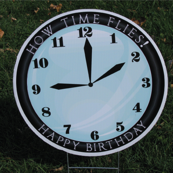 clock_12_yard_greetings_lawn_signs_cards_happy_birthday_hoppy_over_hill