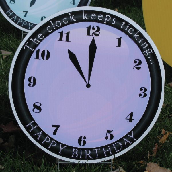 clock_1_yard_greetings_lawn_signs_cards_happy_birthday_hoppy_over_hill
