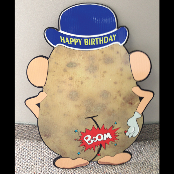 hp1-2_hot_potatos_yard_greetings_lawn_signs_cards_happy_birthday_hoppy_over_hill