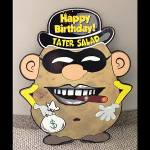 hp12_hot_potatos_yard_greetings_lawn_signs_cards_happy_birthday_hoppy_over_hill