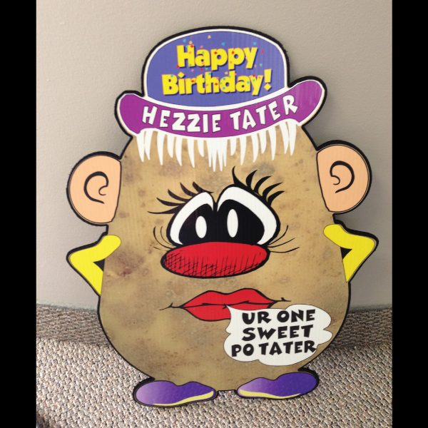 hp8_hot_potatos_yard_greetings_lawn_signs_cards_happy_birthday_hoppy_over_hill