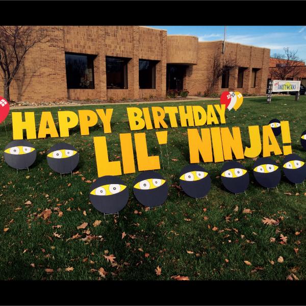 lil_ninja_yard_greetings_lawn_signs_cards_happy_birthday_hoppy_over_hill