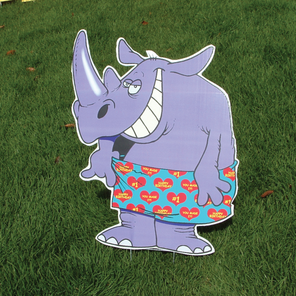 rhino_zoo_animals_yard_greetings_cards_lawn_signs_happy_birthday_over_hill