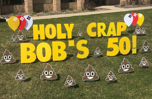Happy Birthday Yard Greetings yard cards lawn signs smiley poo
