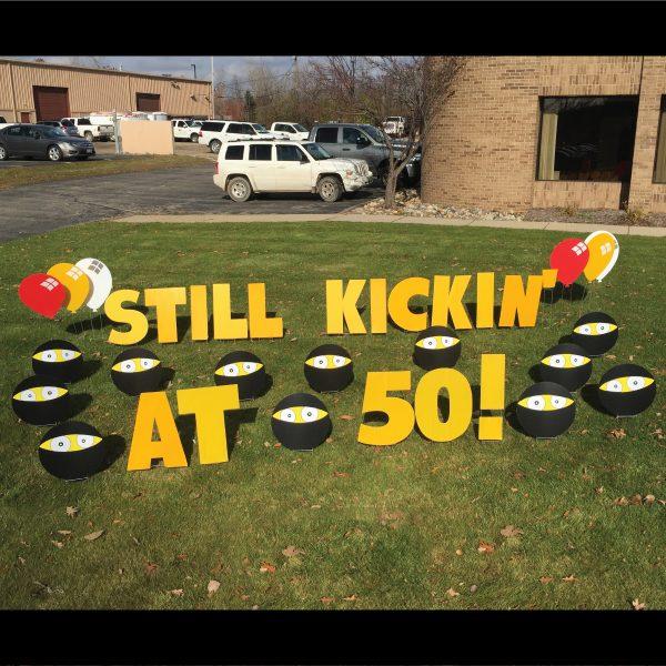 still_kickin_ninja_yard_greetings_lawn_signs_cards_happy_birthday_hoppy_over_hill