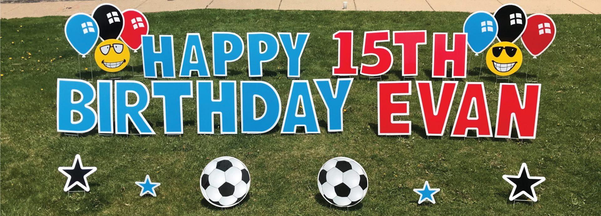 Yard Greeting soccer balls slider happy birthday