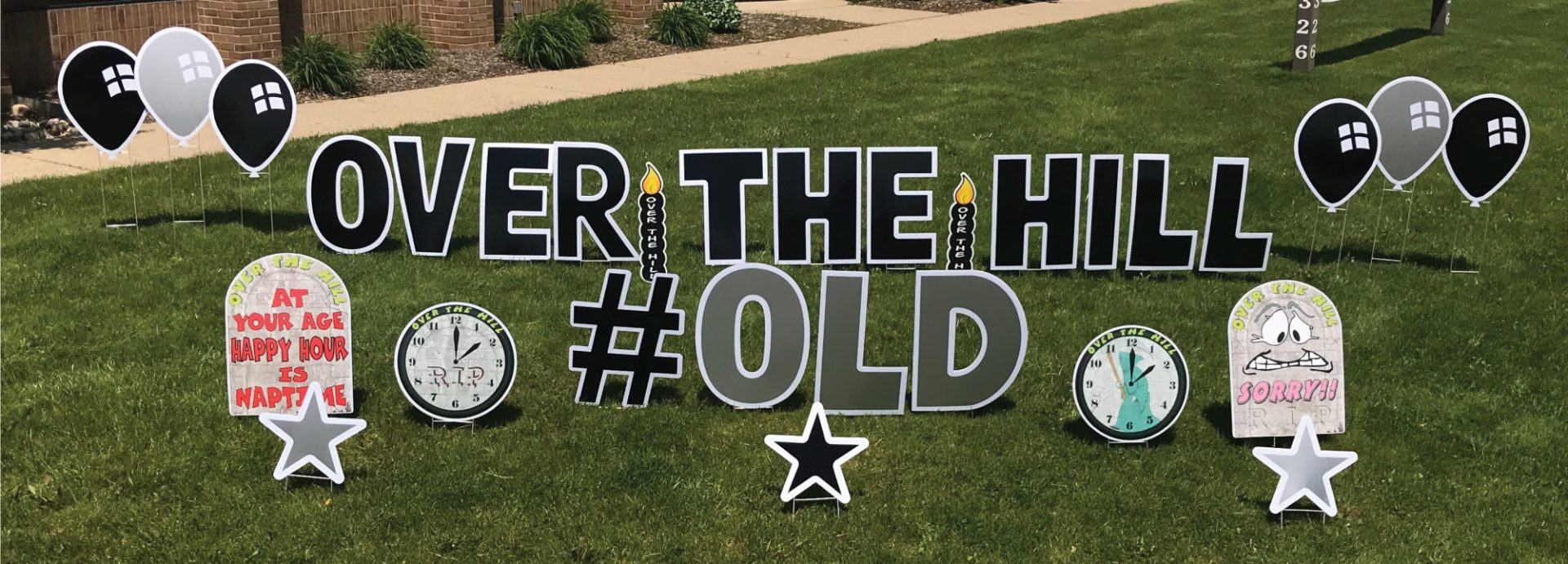 Slider_Over_the_hill_#old_tombstones_clocks_stars_yard_greetings_lawn_signs_yard_cards_1