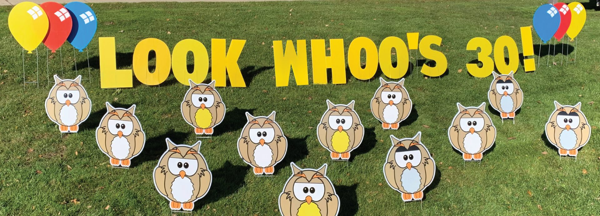 slider_owl_look_whoo's_animals_yard_greetings_yard_cards_happy_birthday_over_the_hill_lawn_signs