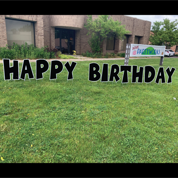 happy birthday yard greetings black and white yard cards lawn signs