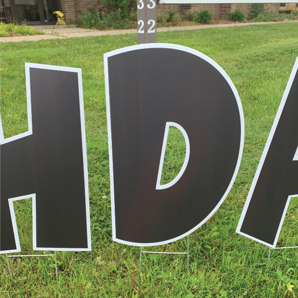 Corpoplast corrugated plastic black and white wacky letters happy birthday yard greetings 5