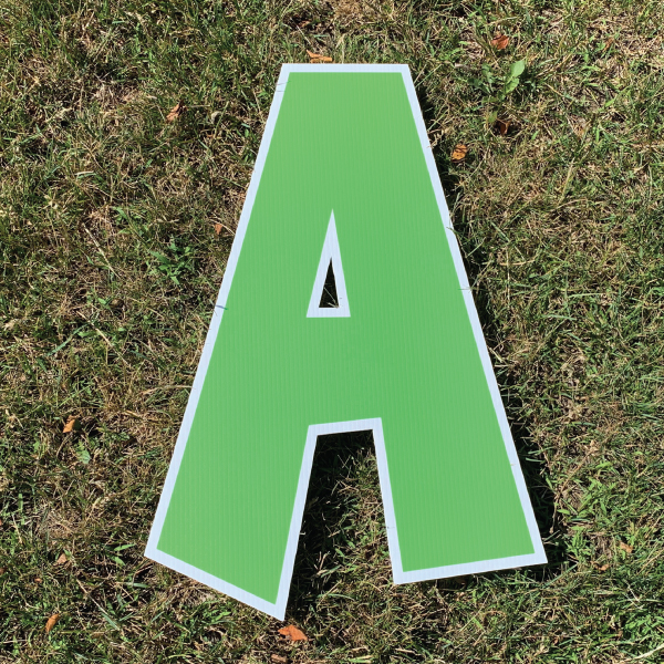 green letter a coroplast corrugated happy birthday yard greeting lawn sign