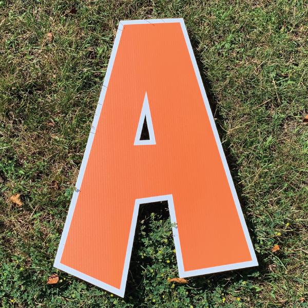 orange letter a coroplast corrugated happy birthday yard greeting lawn sign