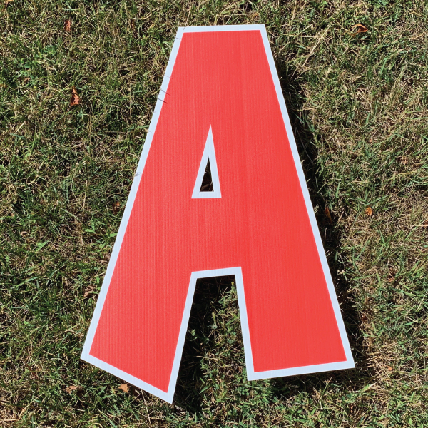 red letter a coroplast corrugated happy birthday yard greeting lawn sign