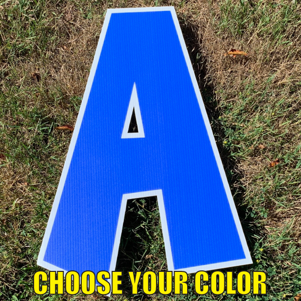 CHOOSE LETTER BLUE a coroplast corrugated happy birthday yard greeting lawn sign