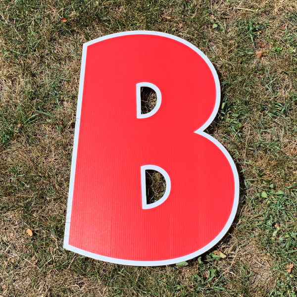 red letter b yard greetings cards corrugated plastic coroplast happy birthday lawn