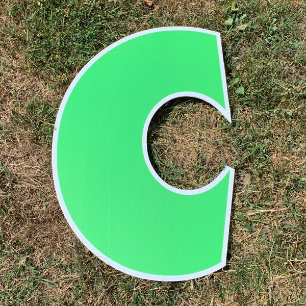 green letter c yard greetings cards corrugated plastic coroplast happy birthday lawn