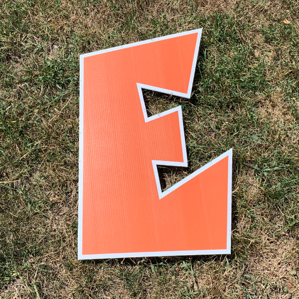 orange letter e yard greetings cards corrugated plastic coroplast happy birthday lawn
