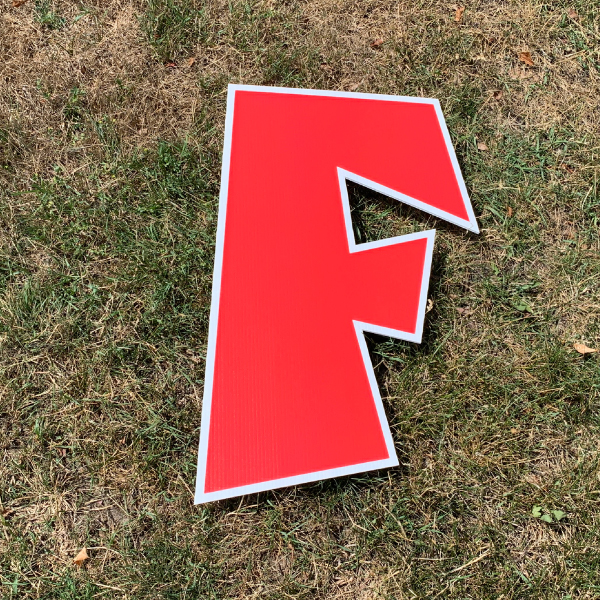Red letter f yard greetings cards corrugated plastic coroplast happy birthday lawn