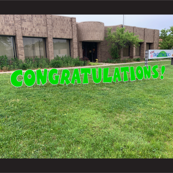 congratulations coroplast letters yard greetings cards graduation yard signs green