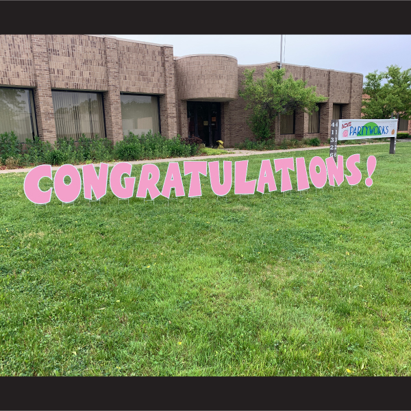 congratulations coroplast letters yard greetings cards graduation yard signs pink