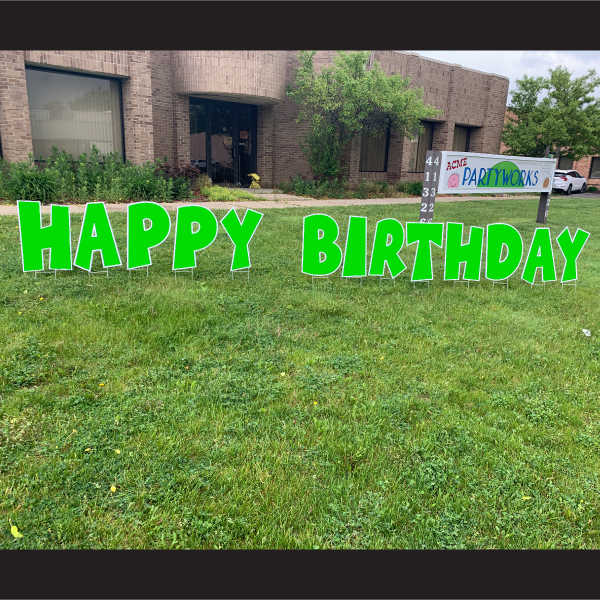 green happy birthday coroplast letters yard greetings lawn signs