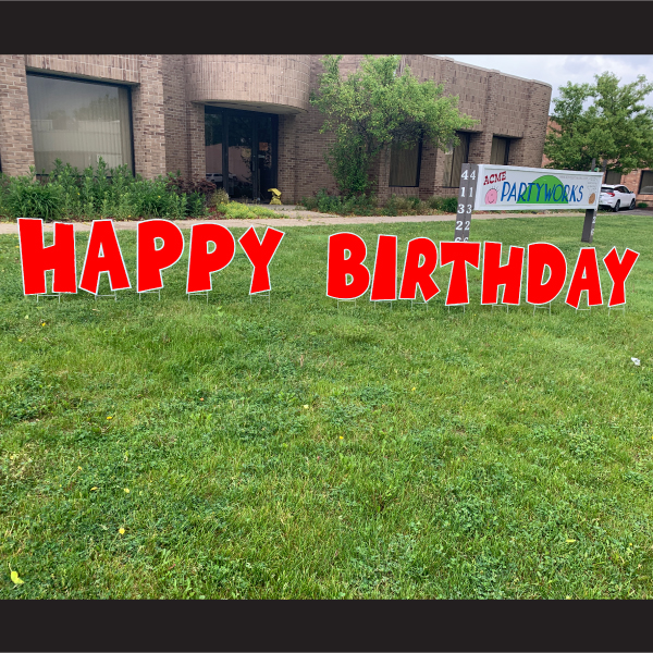 RED happy birthday coroplast letters yard greetings lawn signs