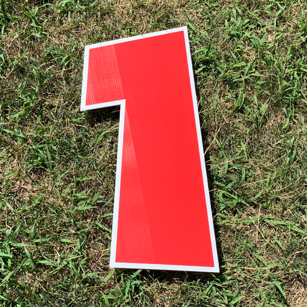 red number 1 yard greetings cards corrugated plastic coroplast happy birthday lawn
