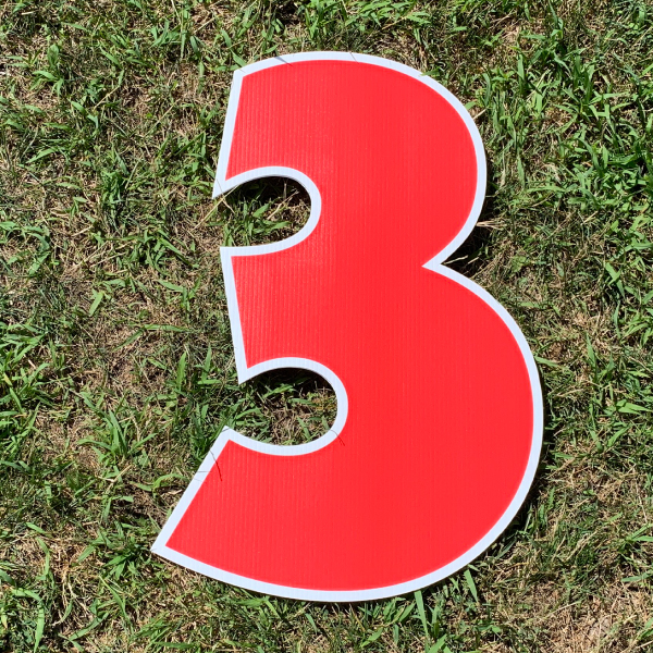 red number 3 yard greetings cards corrugated plastic coroplast happy birthday lawn