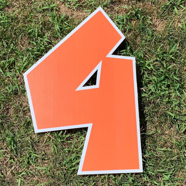 orange number 4 yard greetings cards corrugated plastic coroplast happy birthday lawn