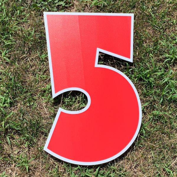 red number 5 yard greetings cards corrugated plastic coroplast happy birthday lawn
