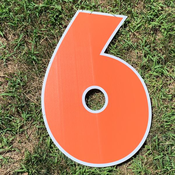 orange number 6 yard greetings cards corrugated plastic coroplast happy birthday lawn