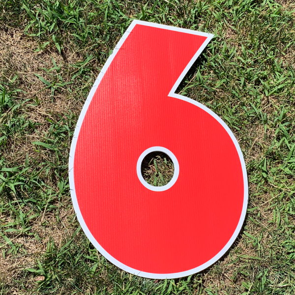 red number 6 yard greetings cards corrugated plastic coroplast happy birthday lawn