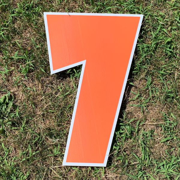 orange number 7 yard greetings cards corrugated plastic coroplast happy birthday lawn