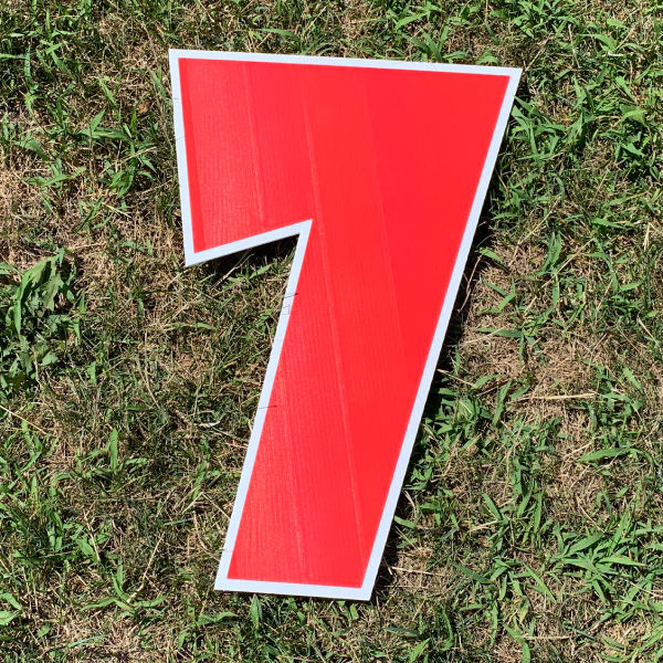 red number 7 yard greetings cards corrugated plastic coroplast happy birthday lawn