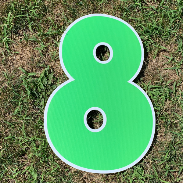 green number 8 yard greetings cards corrugated plastic coroplast happy birthday lawn