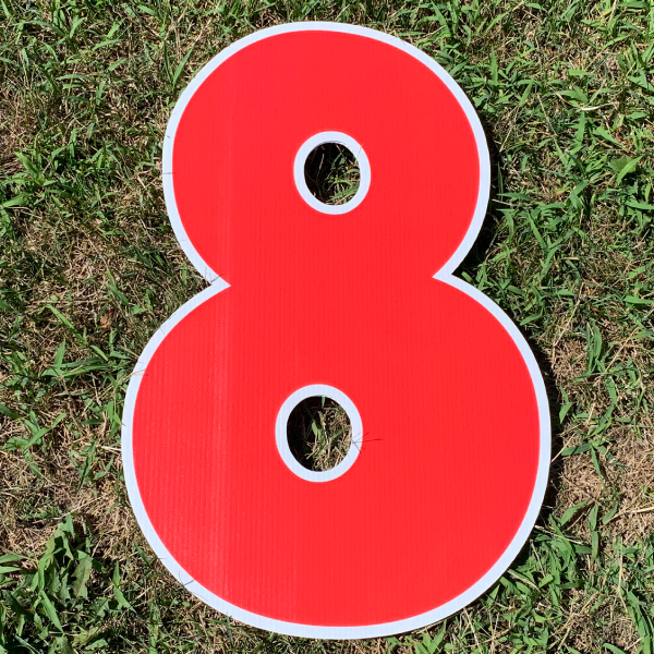 red number 8 yard greetings cards corrugated plastic coroplast happy birthday lawn