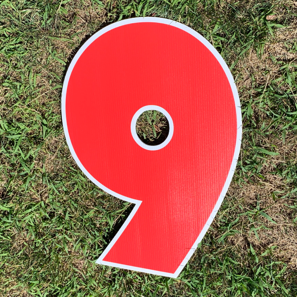 red number 9 yard greetings cards corrugated plastic coroplast happy birthday lawn