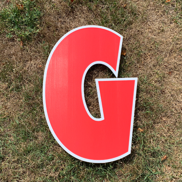 red letter g yard greetings cards corrugated plastic coroplast happy birthday lawn