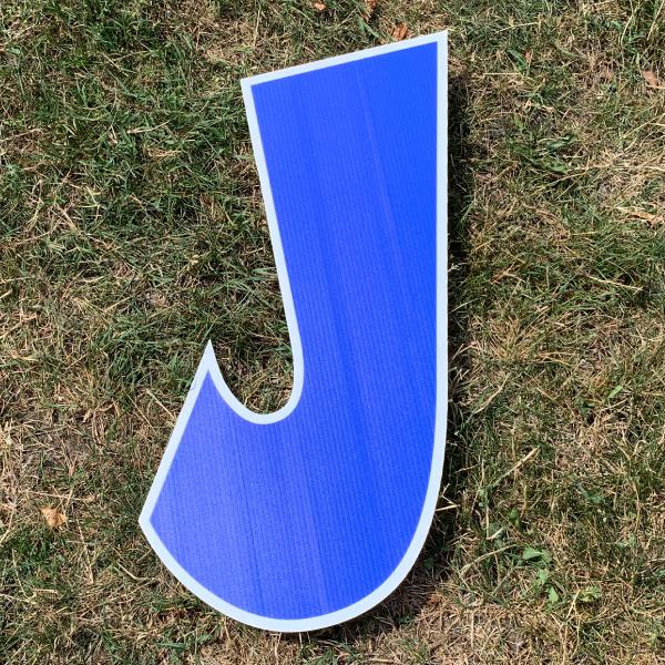 blue letter J yard greetings cards corrugated plastic coroplast happy birthday lawn