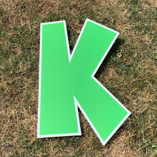 green letter k yard greetings cards corrugated plastic coroplast happy birthday lawn