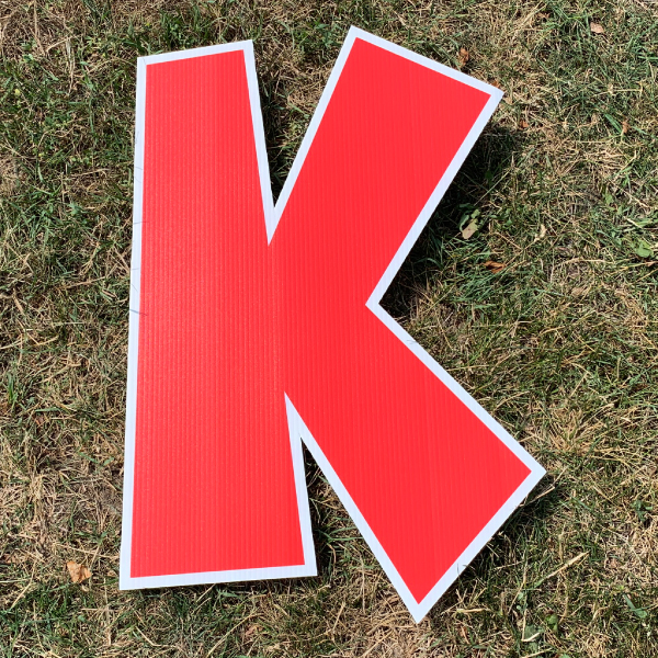 red letter k yard greetings cards corrugated plastic coroplast happy birthday lawn