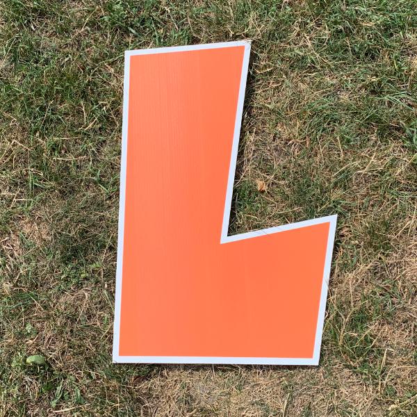 orange letter L yard greetings cards corrugated plastic coroplast happy birthday lawn