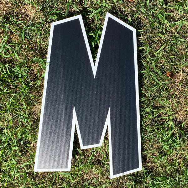 black letter M yard greetings cards corrugated plastic coroplast happy birthday lawn